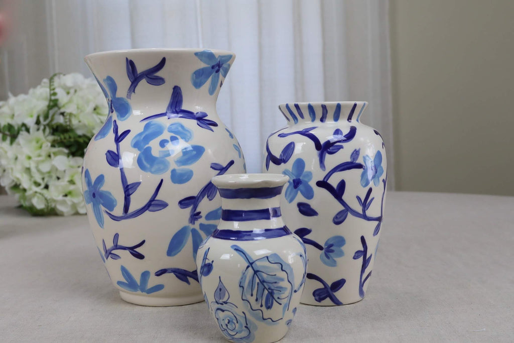 Blue and White Floral Vases