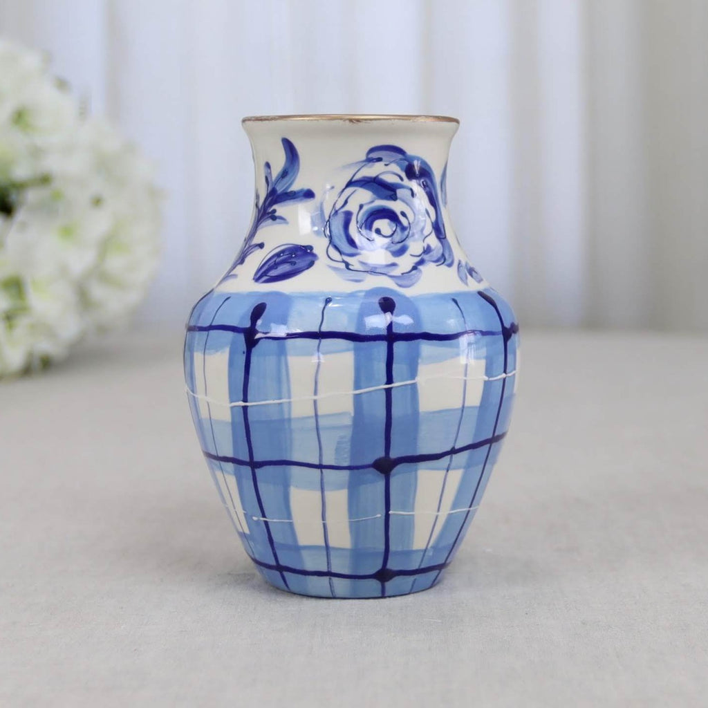Blue and White Gingham and Floral Vase