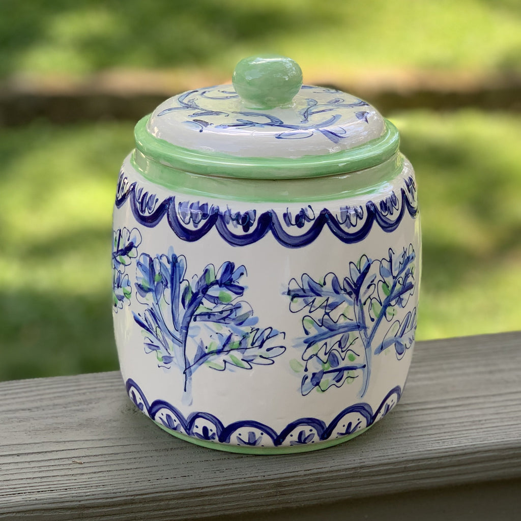 Botanical Print Blue and Green Cookie Jar Canister