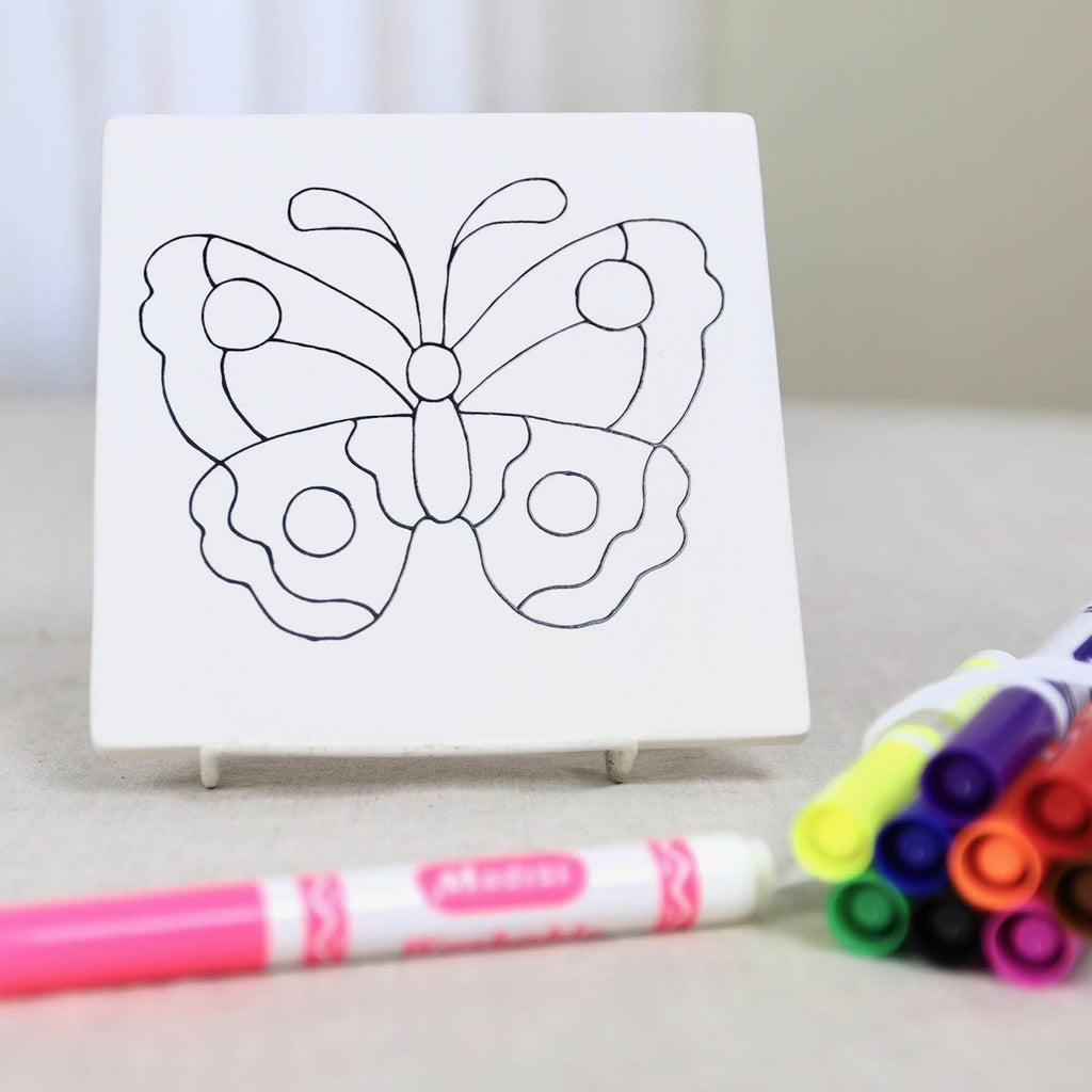 Butterfly Tile Pottery Paint Kit with Markers or Paints