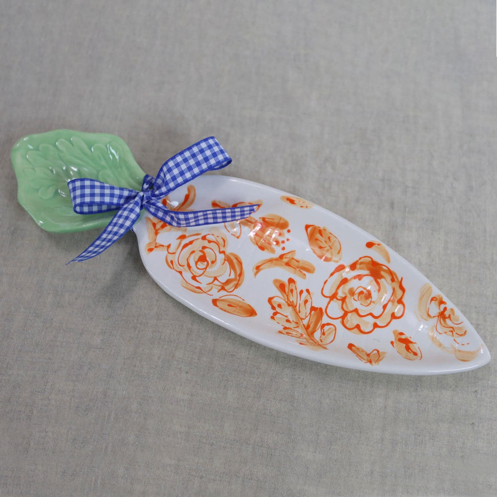 Orange Floral Carrot Shaped Serving Dish