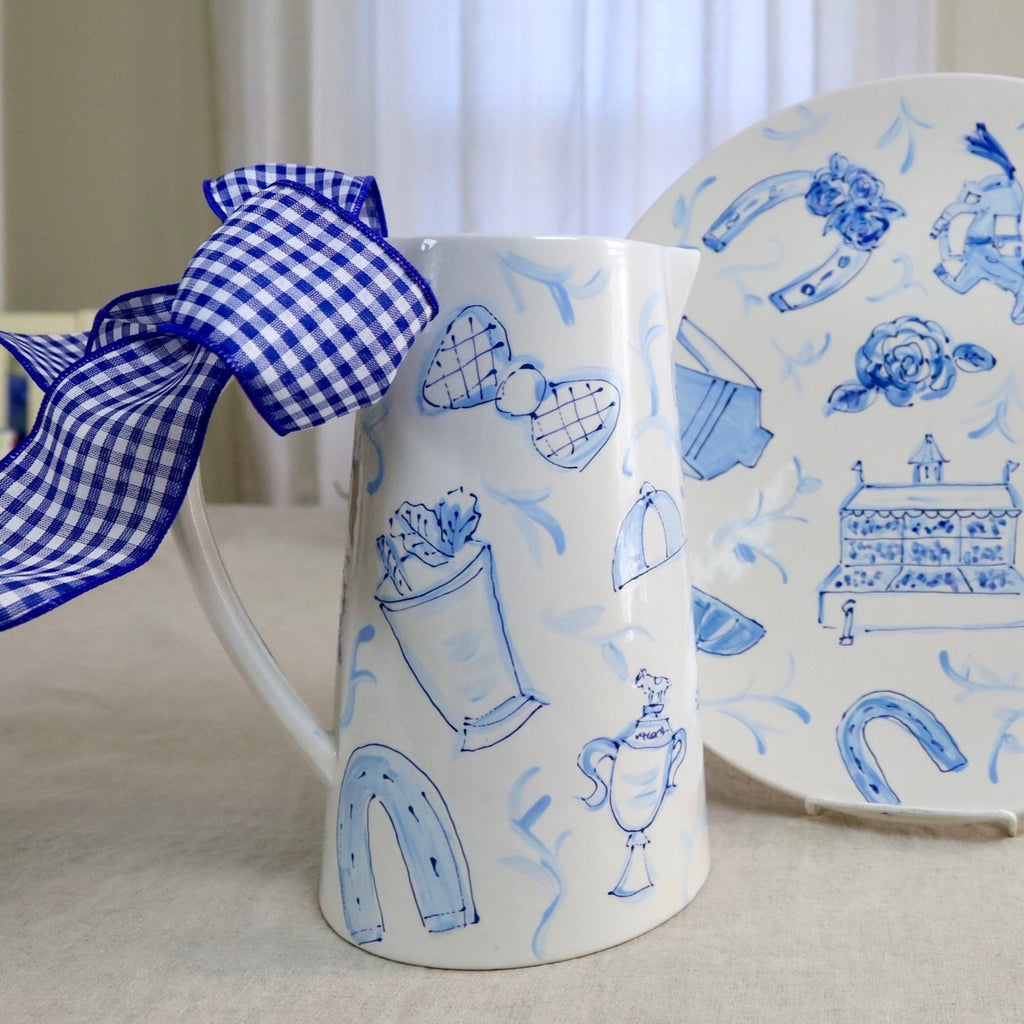Blue and White Toile Derby Pitcher