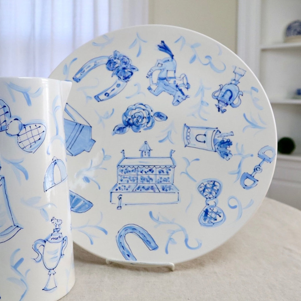 Blue and White Derby Toile Platter