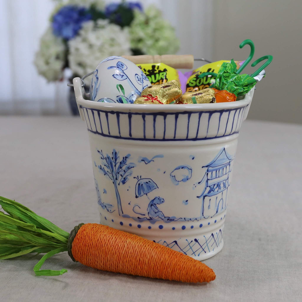 Chinoiserie Floral or Pagoda Pattern Ceramic Bucket