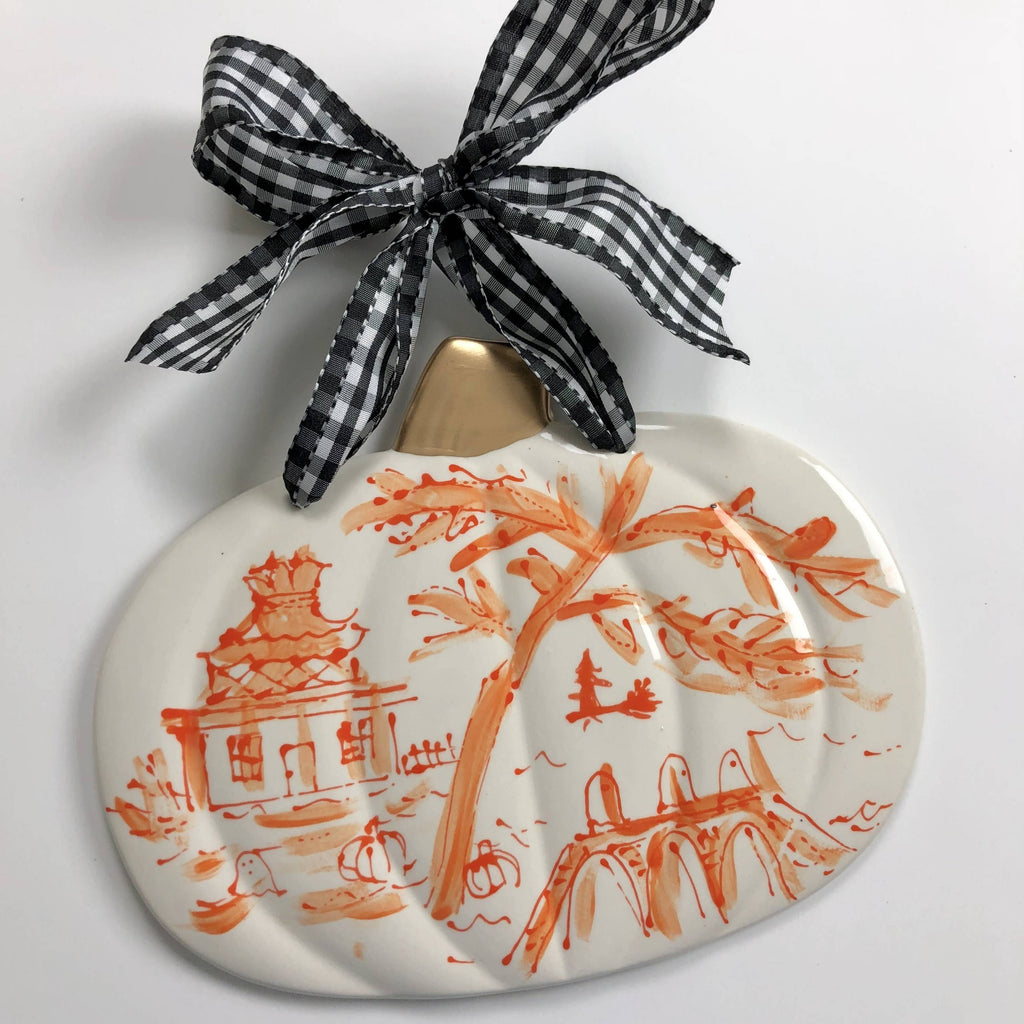 Halloween Toile Pattern Pumpkin Plaque