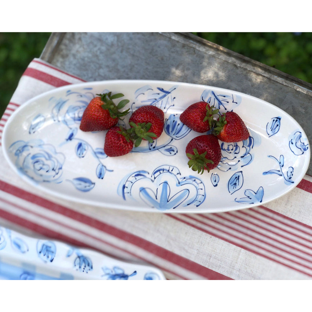 Blue and White Chinoiserie Floral Platter