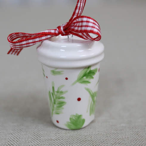 Coffee Mug Tumbler Christmas Ornament - Christmas Greenery Pattern