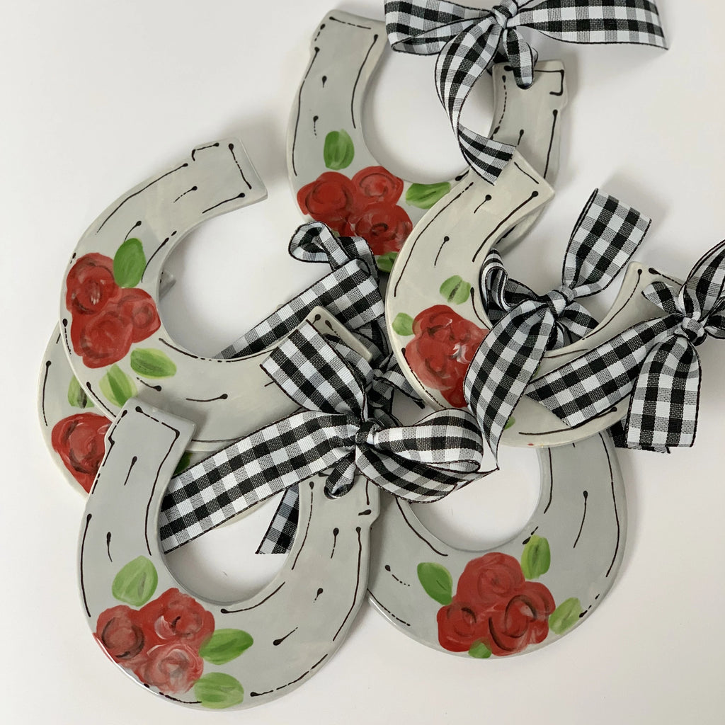 Grey Derby Horsehoe Shaped Ornament with Roses