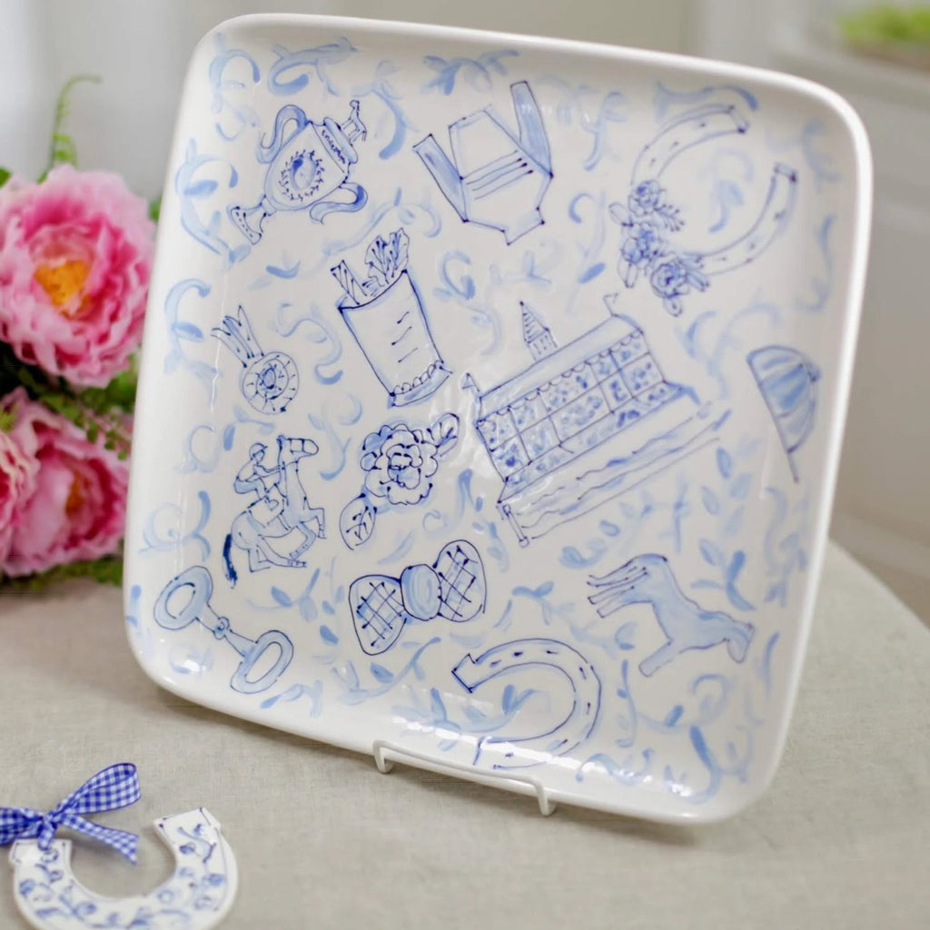 Blue and White Kentucky Derby Toile Platter