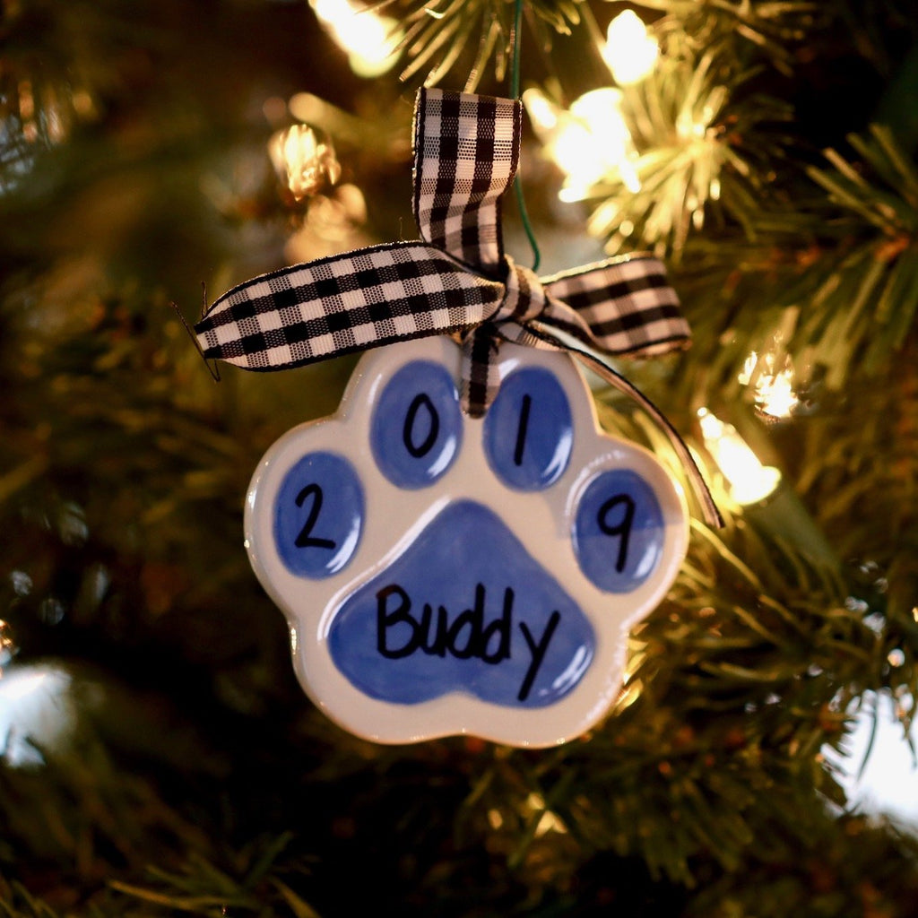 Personalized Paw Print Christmas Ornament