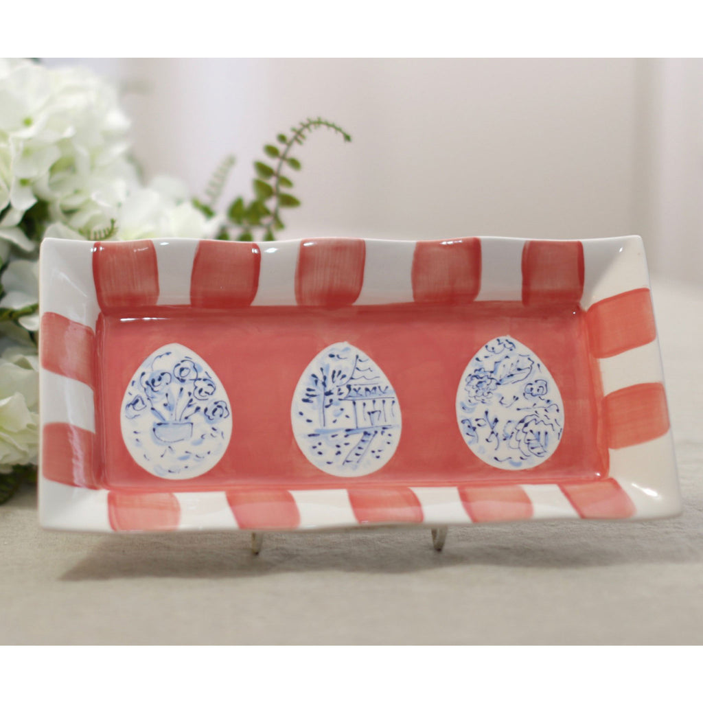Coral, Blue and White Chinoiserie Easter Platter
