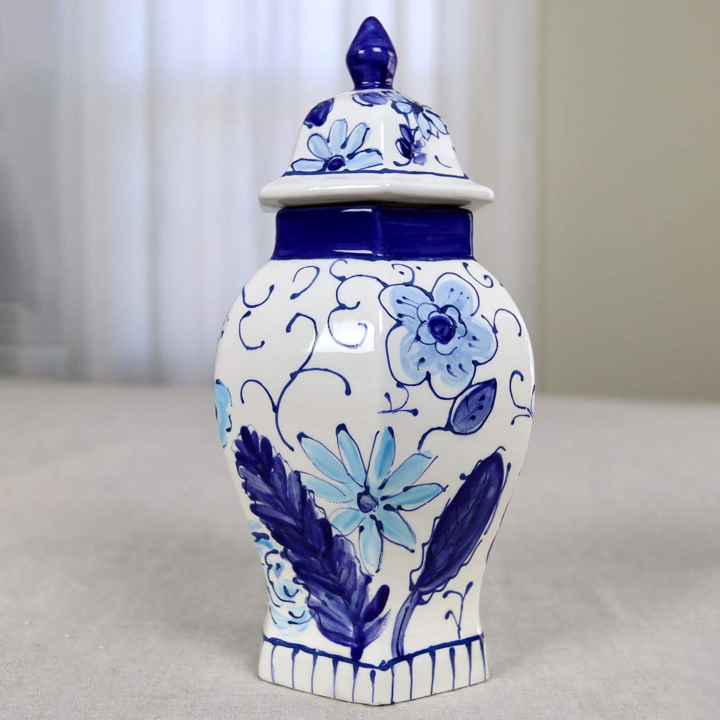 "10"" Ella Floral Pattern Ginger Jar"
