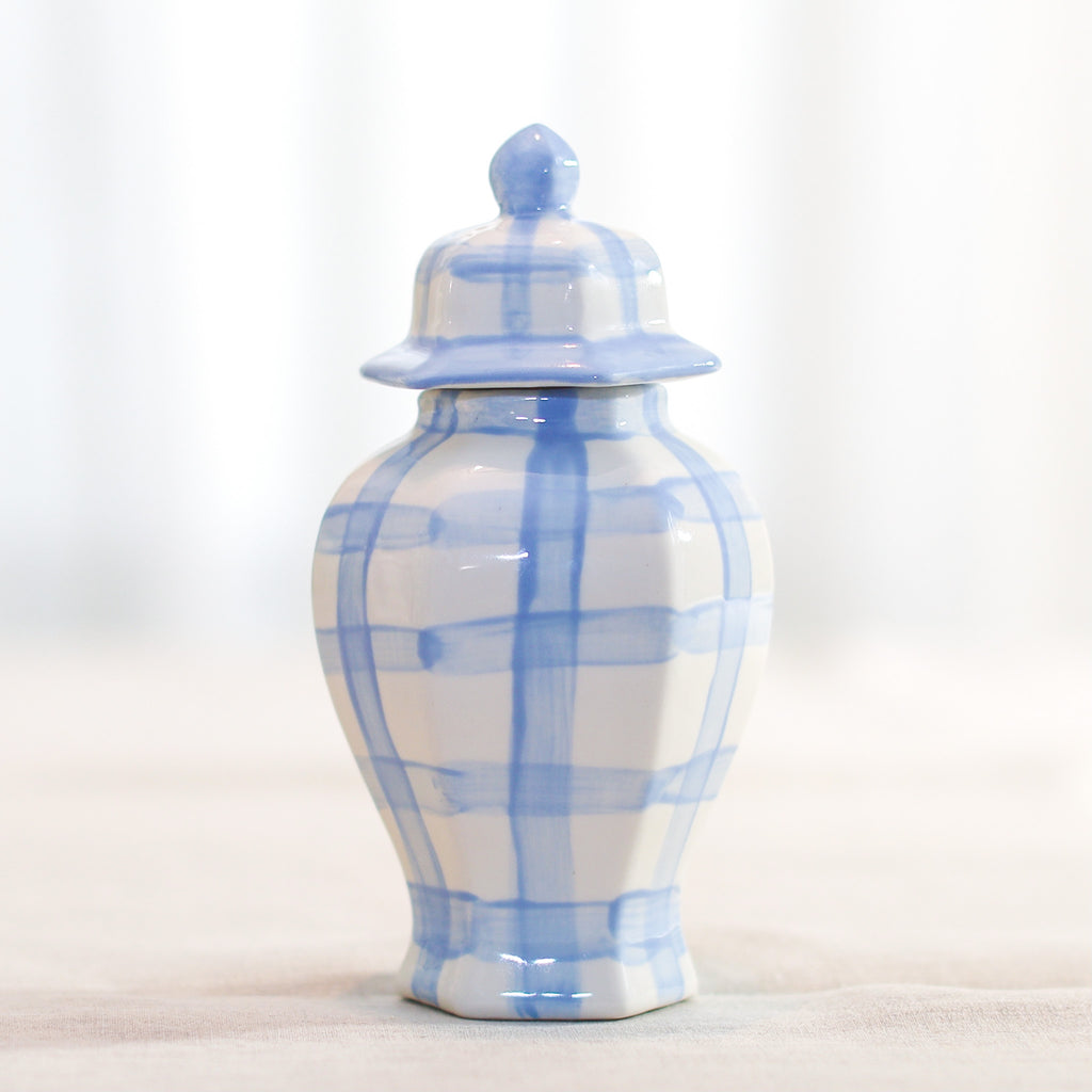 Ella Blue and White Gingham Ginger Jar