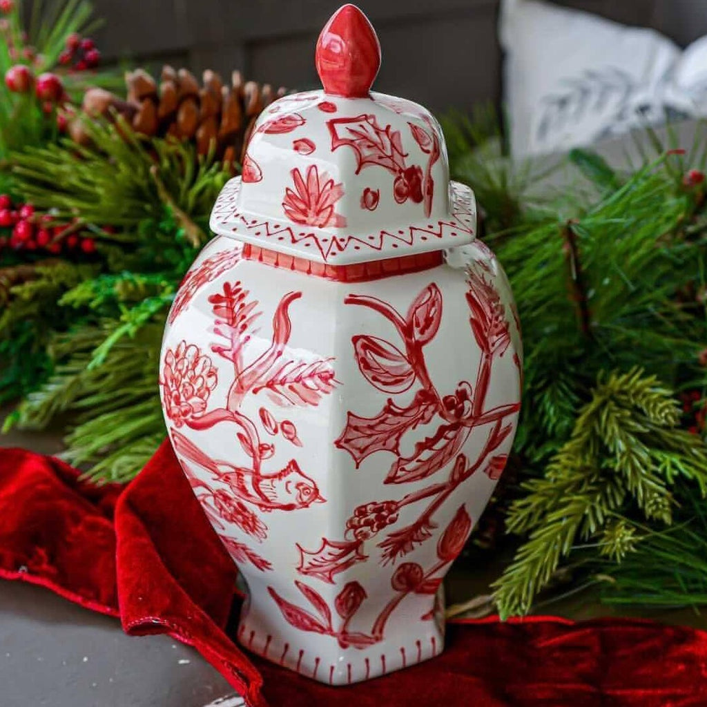 "13"" Ella Red and White Ginger Jar"