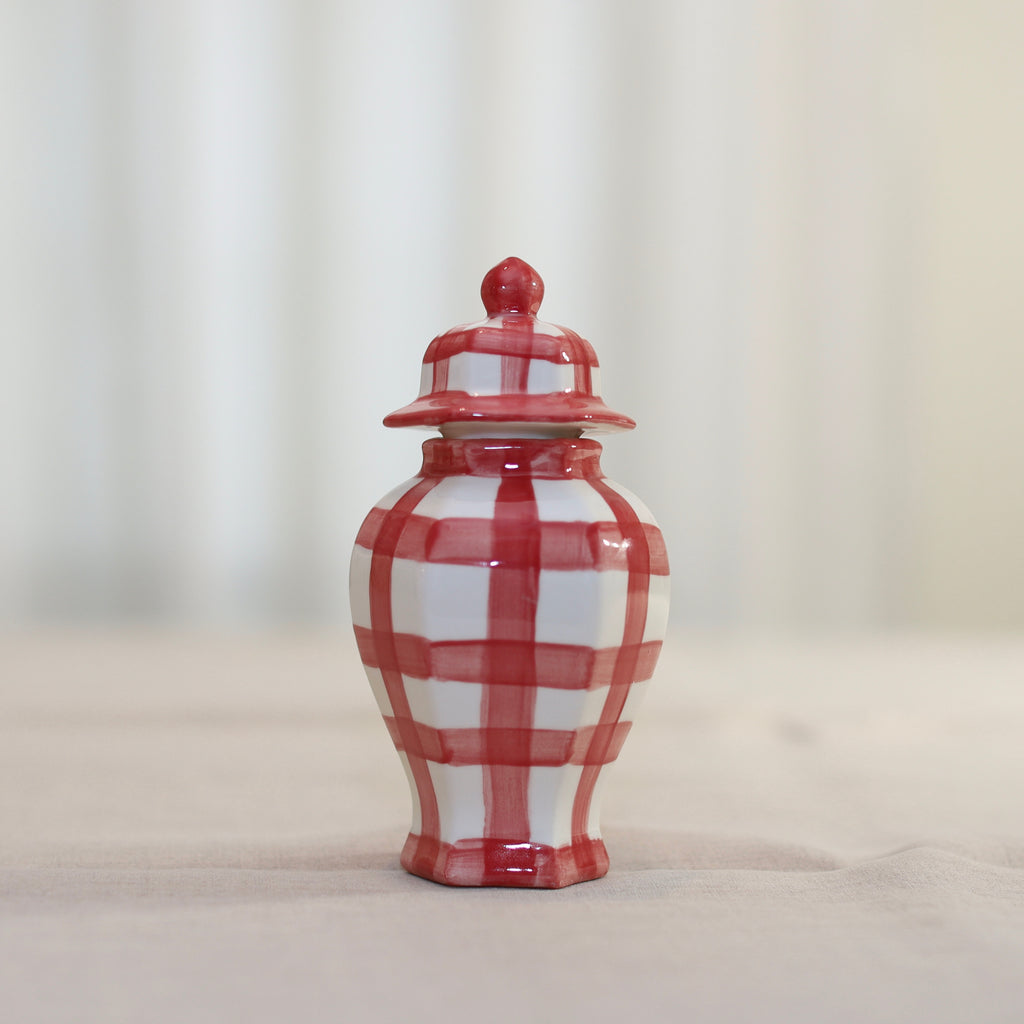 "7"" Ella Gingham Pattern Ginger Jar - Many Colors Available"