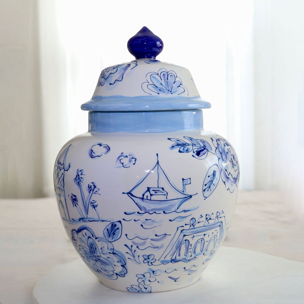 Blue and White Pagoda Pattern Emma Ginger Jar