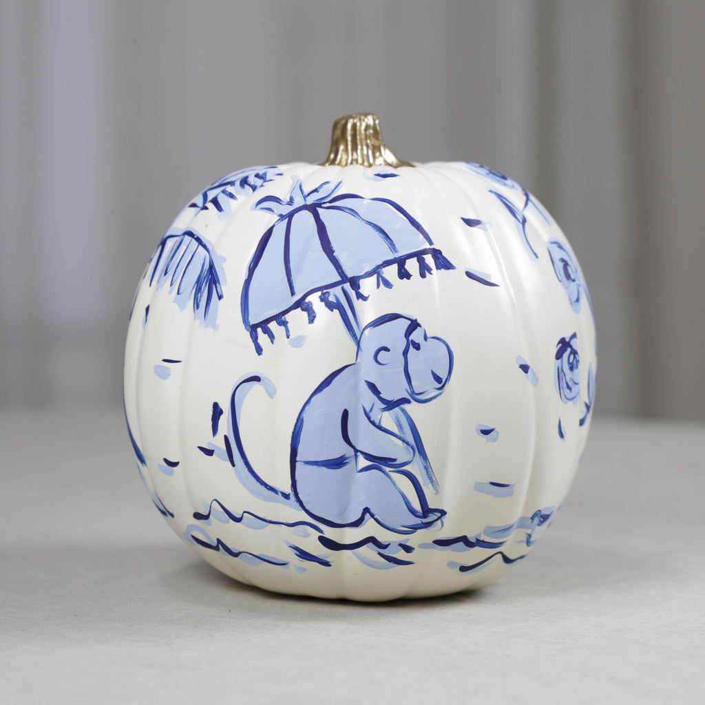 Medium Blue and White Chinoiserie Faux Hand Painted Pumpkin