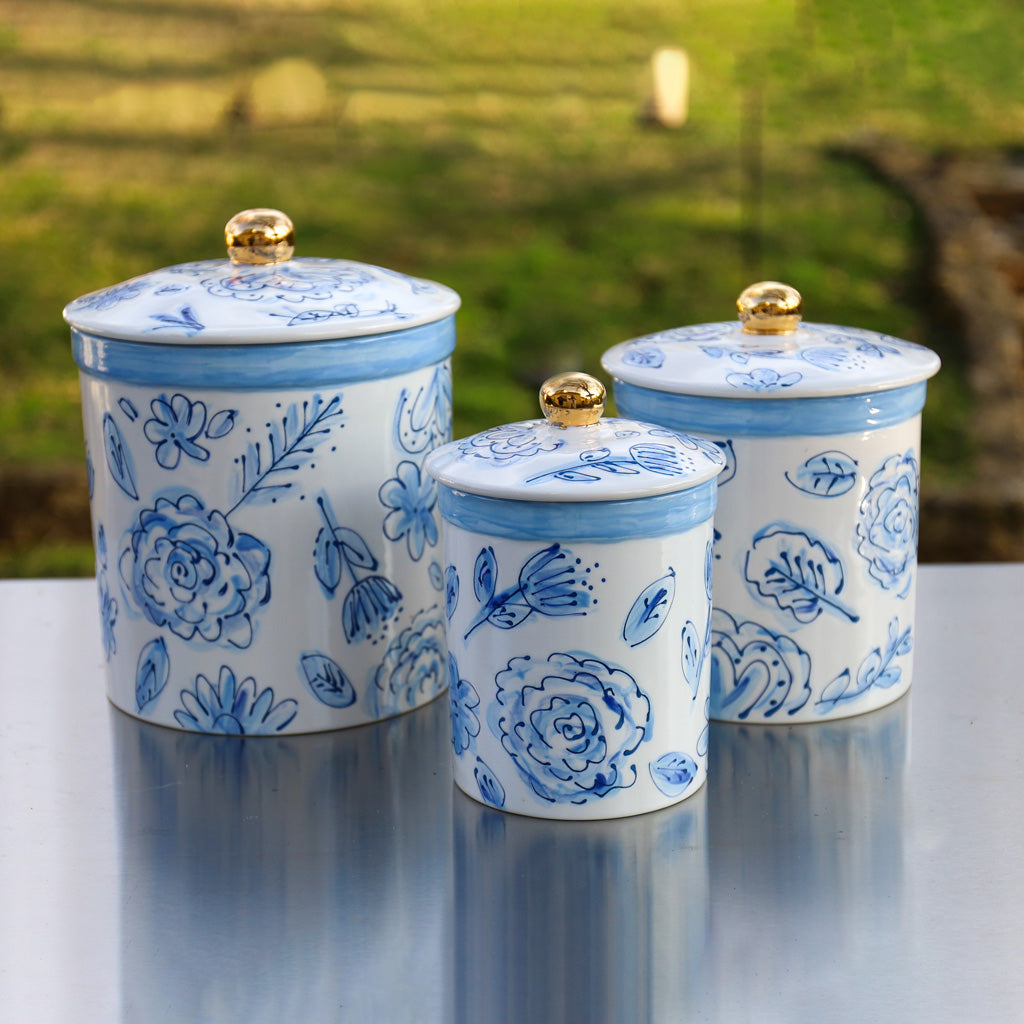 Blue and White Floral Canister Set