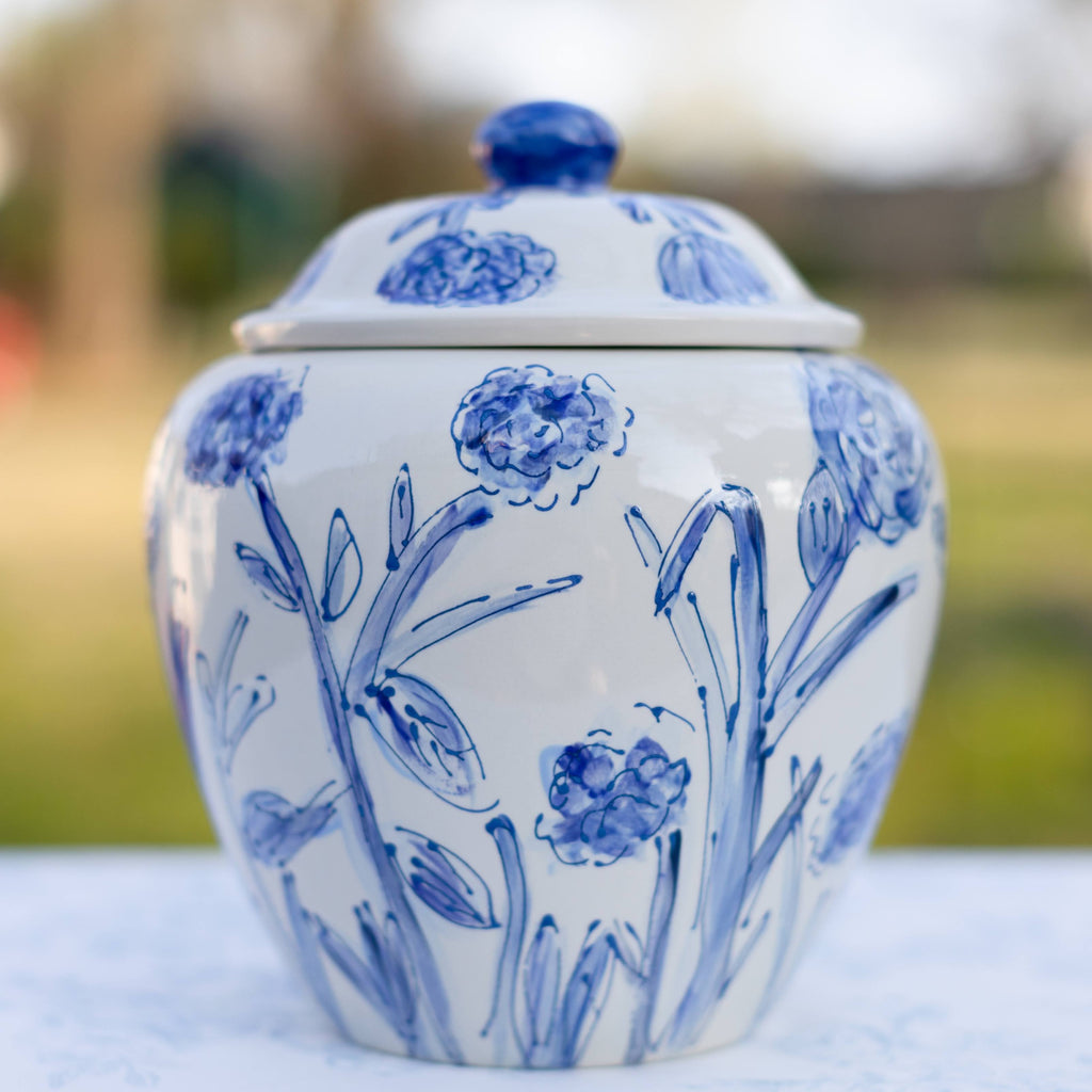 Blue and White Floral Pattern Ginger Jar