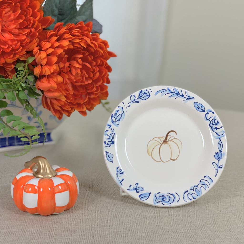 Blue and White Floral Pumpkin Plate