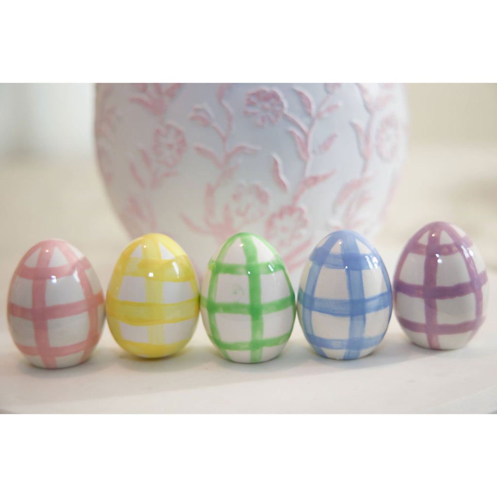New Set of 5 Gingham Pattern Pastel Ceramic Eggs with Lavender