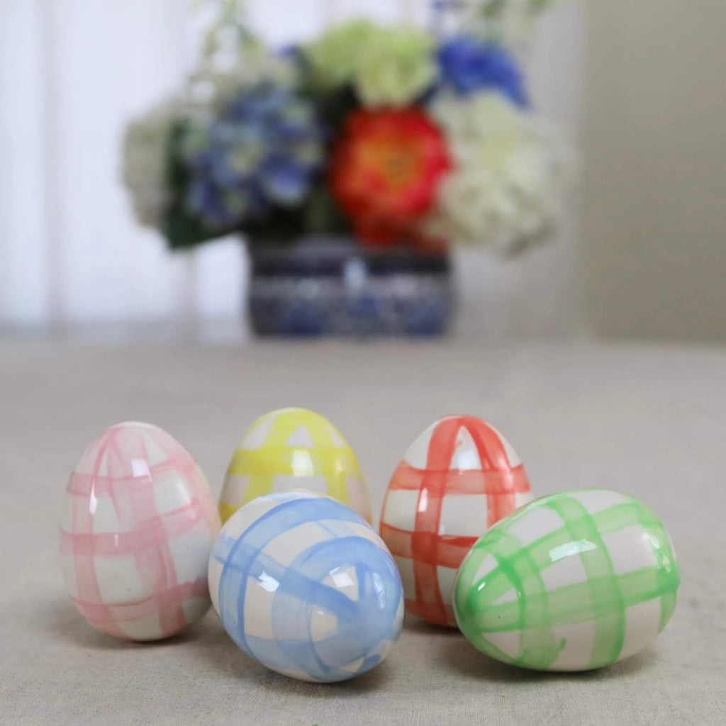 Set of 5 Gingham Pattern Pastel Ceramic Eggs