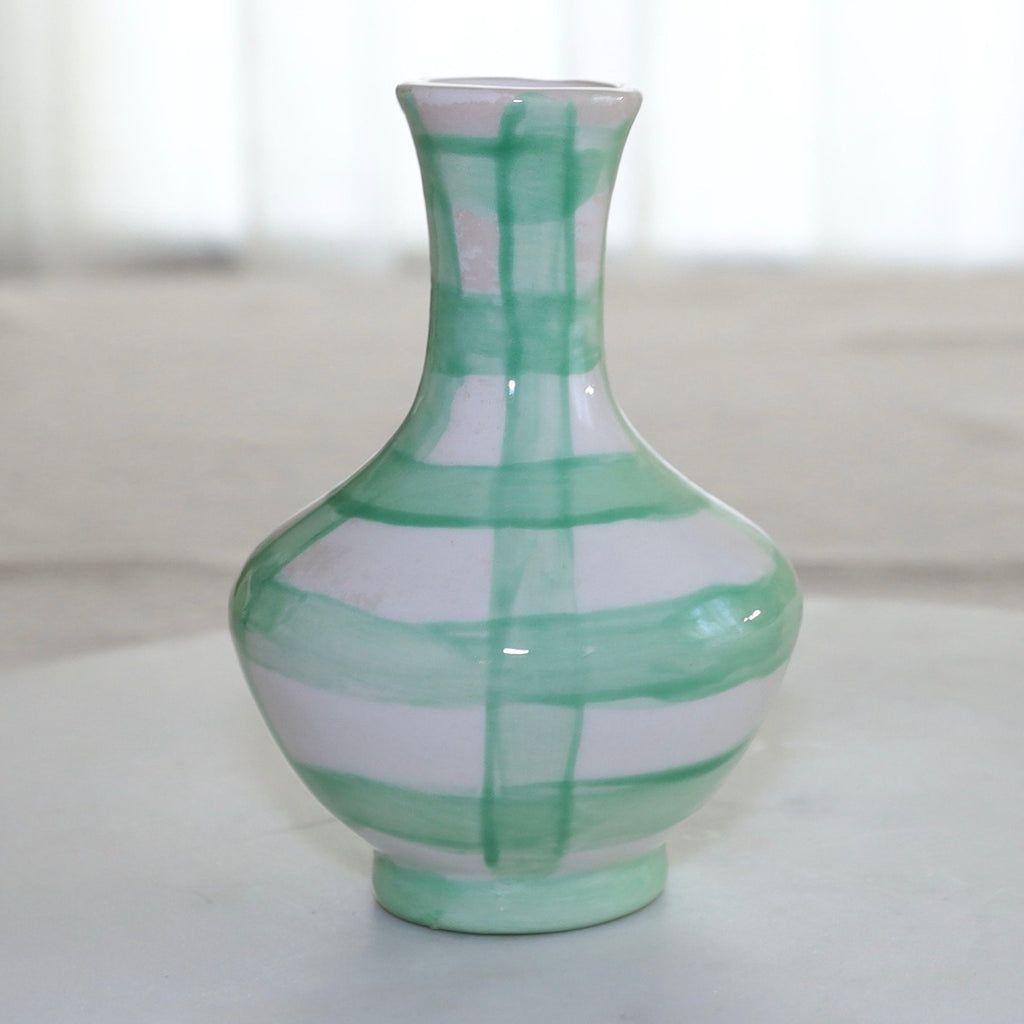 Green and White Gingham Pattern Greek Vase