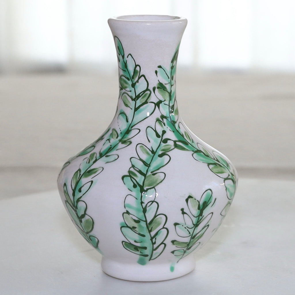 Green and White Vine Pattern Greek Vase
