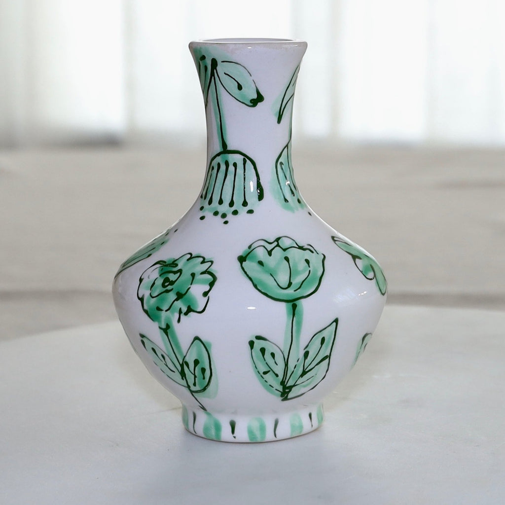 Green and White Flower Greek Vase
