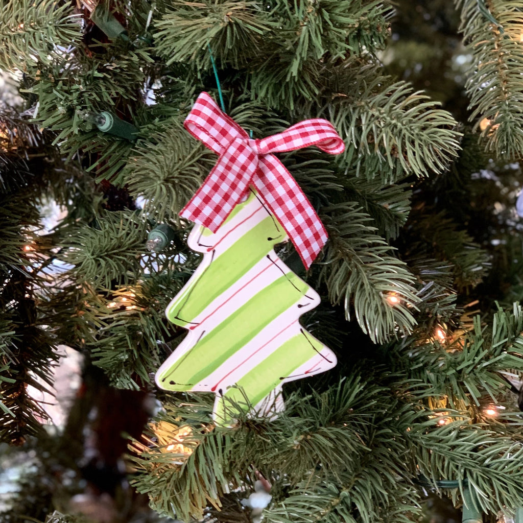 Personalized Diagonal Stripes Christmas Tree Ornament