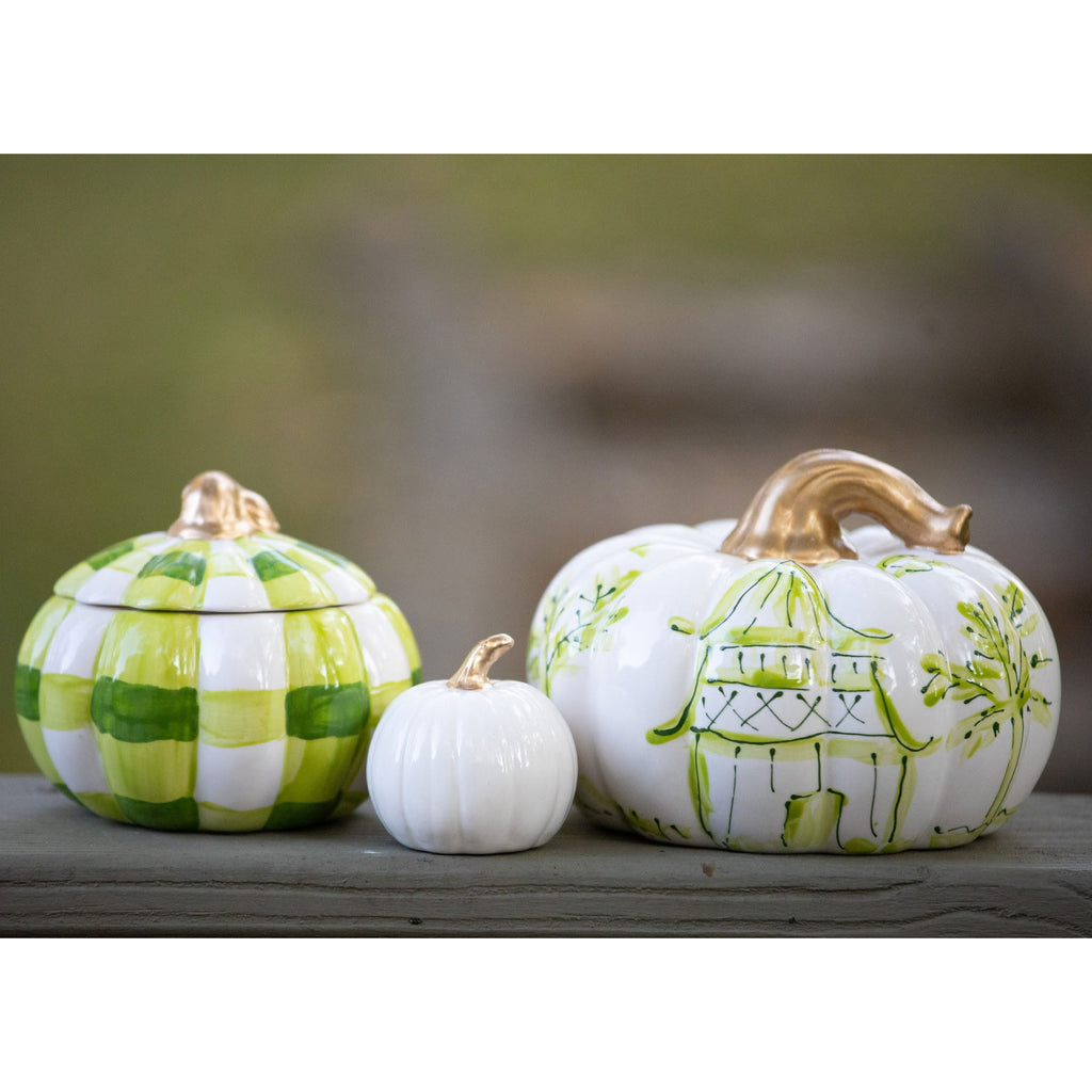 One of a Kind Green Pumpkin Set