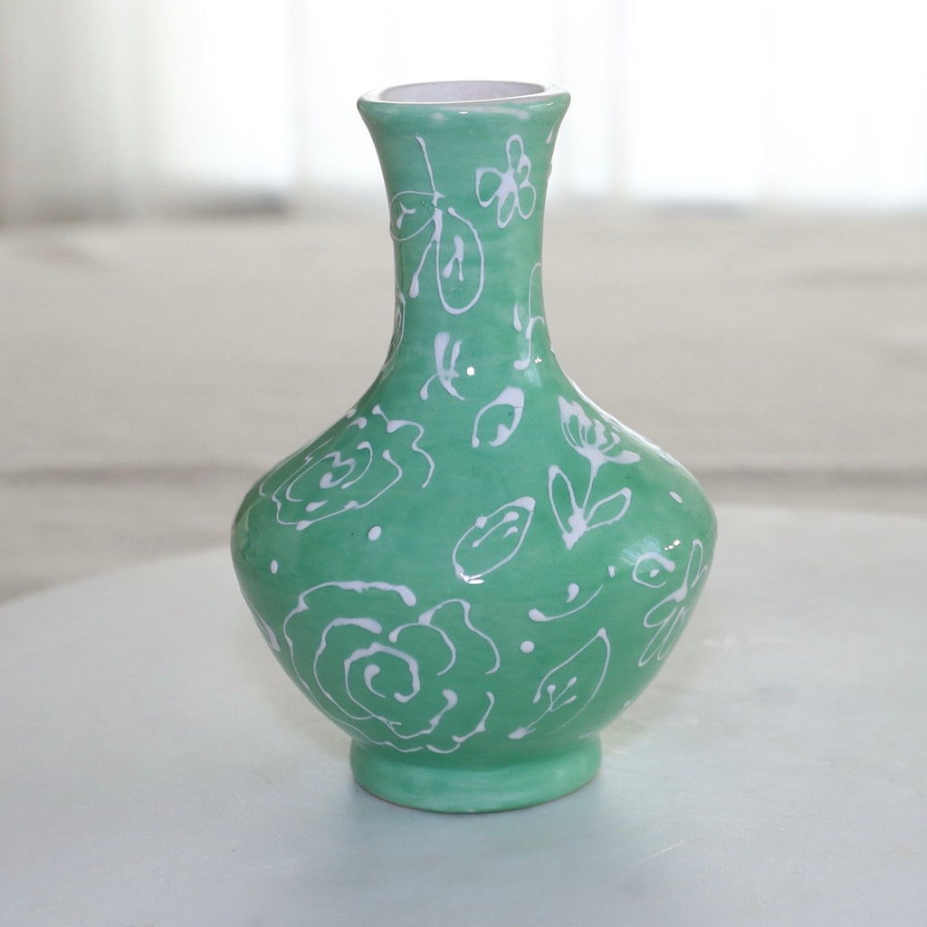 Green and White Floral Pattern Greek Vase