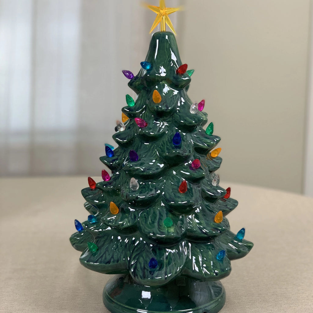 Green Vintage Christmas Tree With Lights