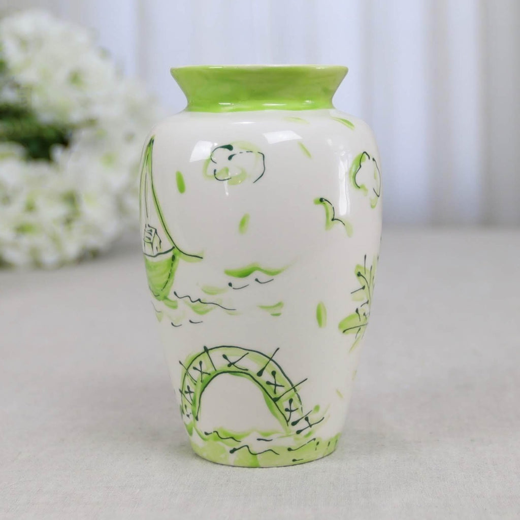 Green and White Chinoiserie Pagoda Vase
