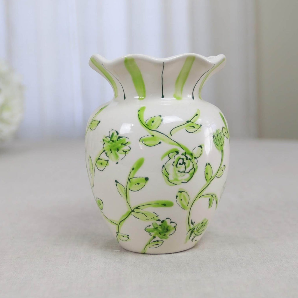 Green and White Floral Ruffle Vase
