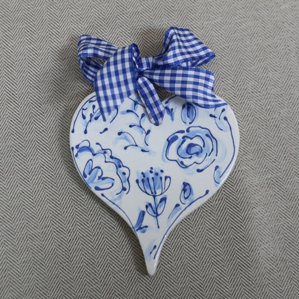 Heart Shaped Chinoiserie Christmas Ornament