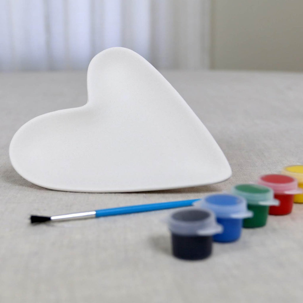 Heart Dish Pottery Paint Kit with Markers or Paints