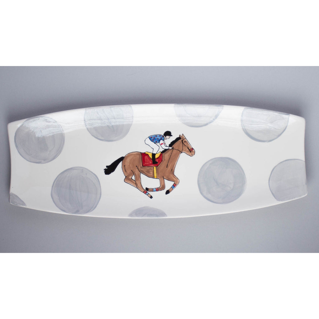 Horse and Jockey Silk Rectangular Platter