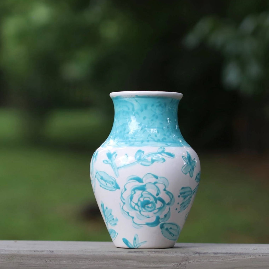 Aqua and White Floral Pattern Vase