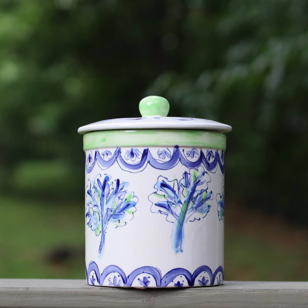 Blue and Green Botanical Canister
