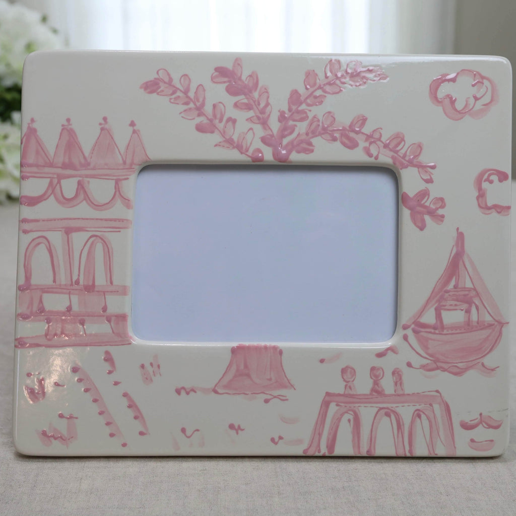 Pink Pagoda Chinoiserie Picture Frame - Landscape (5x7)