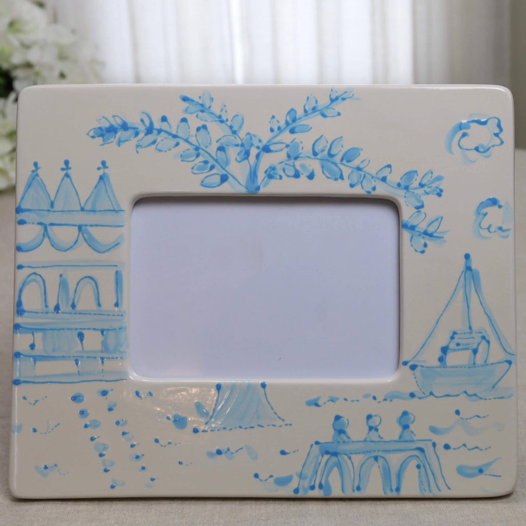 Aqua Pagoda Chinoiserie Picture Frame - Landscape (5x7)