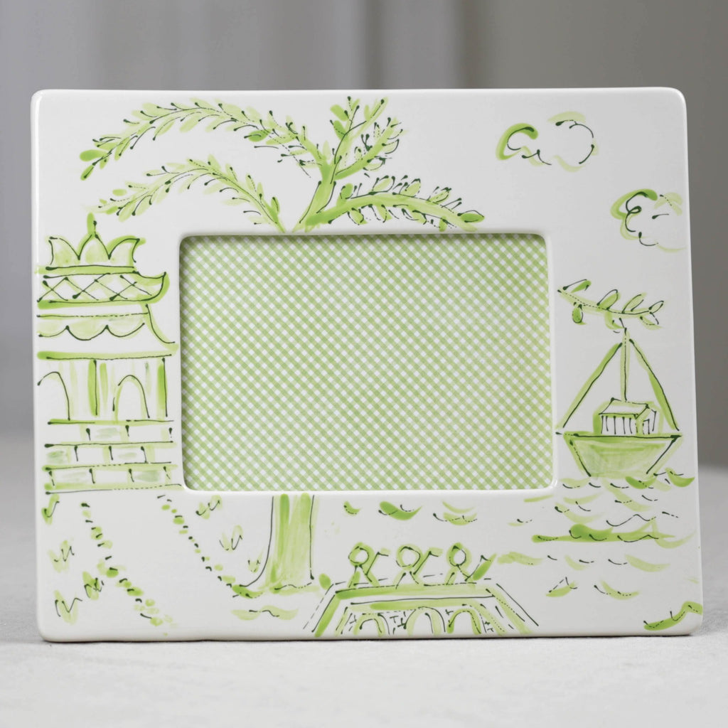 Green Pagoda Chinoiserie Picture Frame - Landscape (5x7)