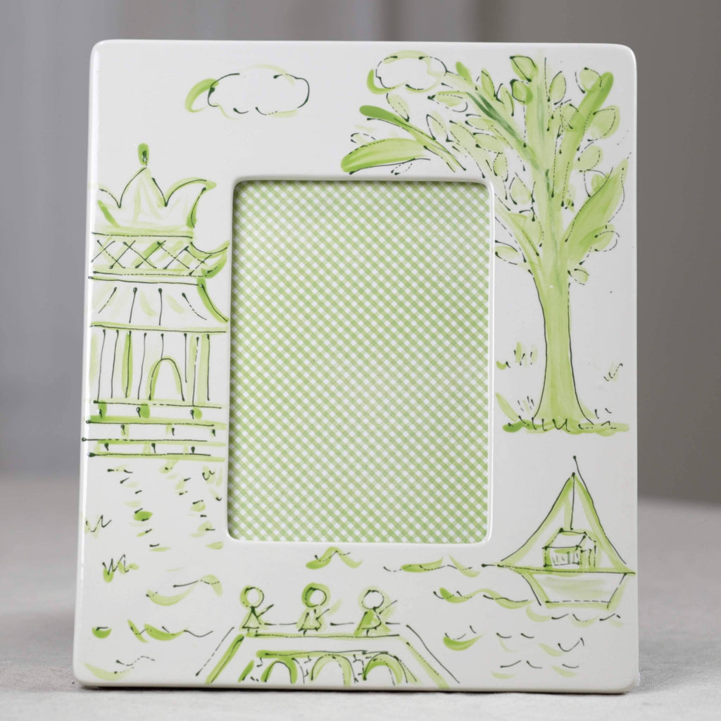 Green Pagoda Chinoiserie Picture Frame - Portrait (4x6)