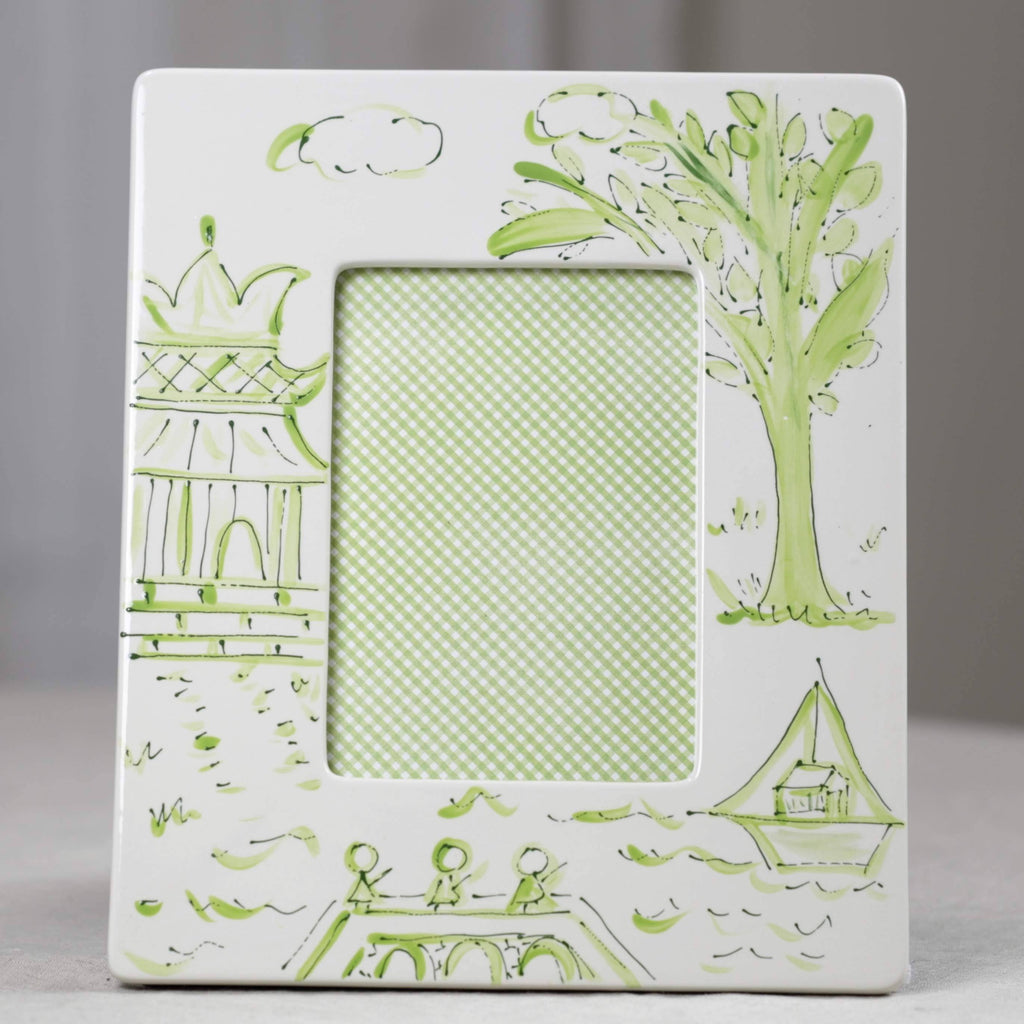 Green Pagoda Chinoiserie Picture Frame - Portrait (5x7)