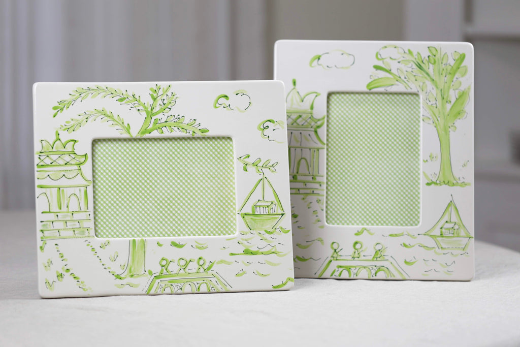 Green Pagoda Chinoiserie Picture Frames