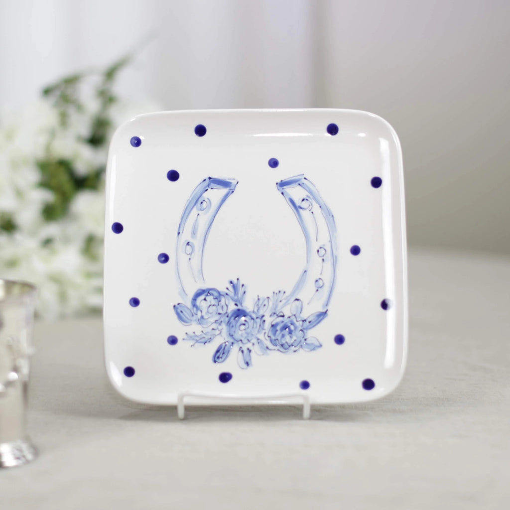 Delft Blue Kentucky Derby Horseshoe Plate with Polka Dots