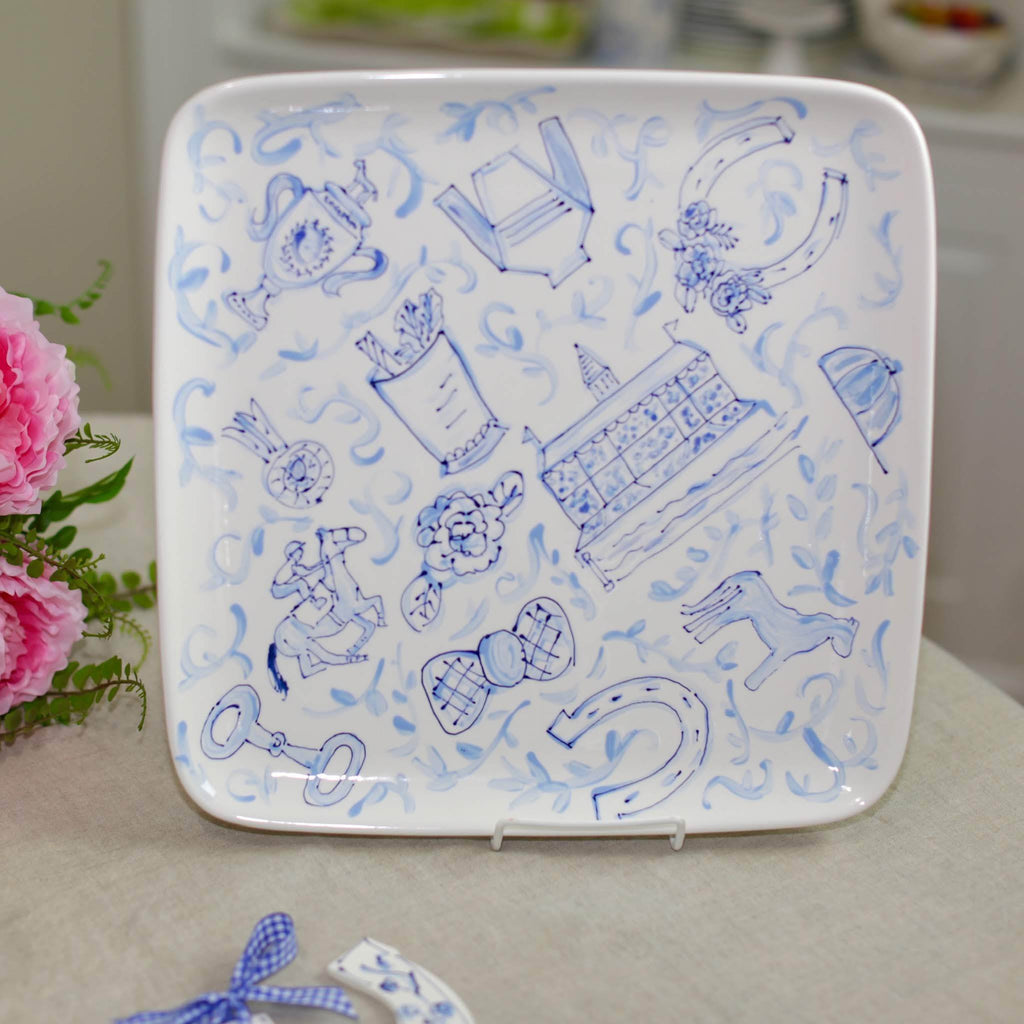 Blue Toile Derby Platter