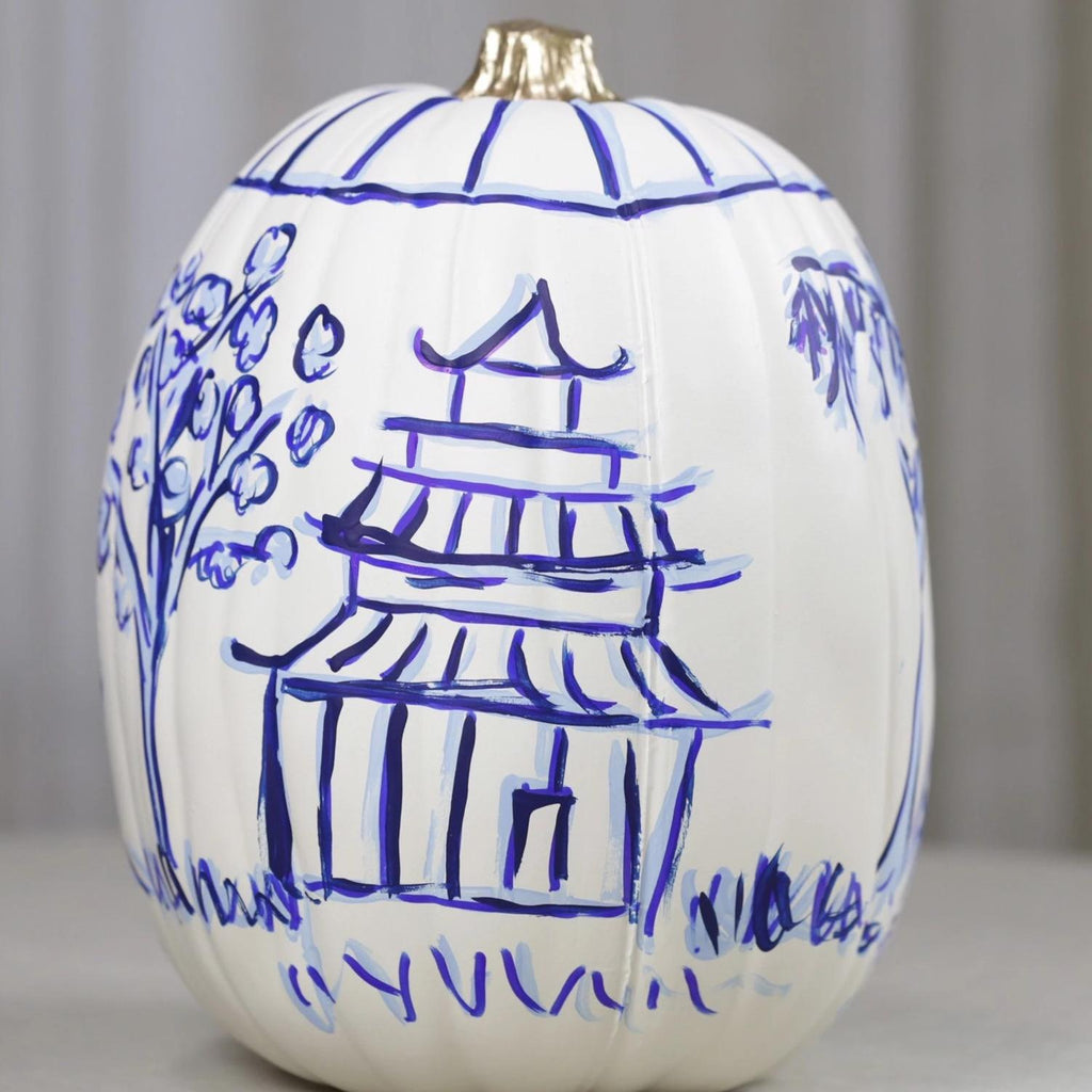 Large Blue and White Chinoiserie Faux Hand Painted Pumpkin