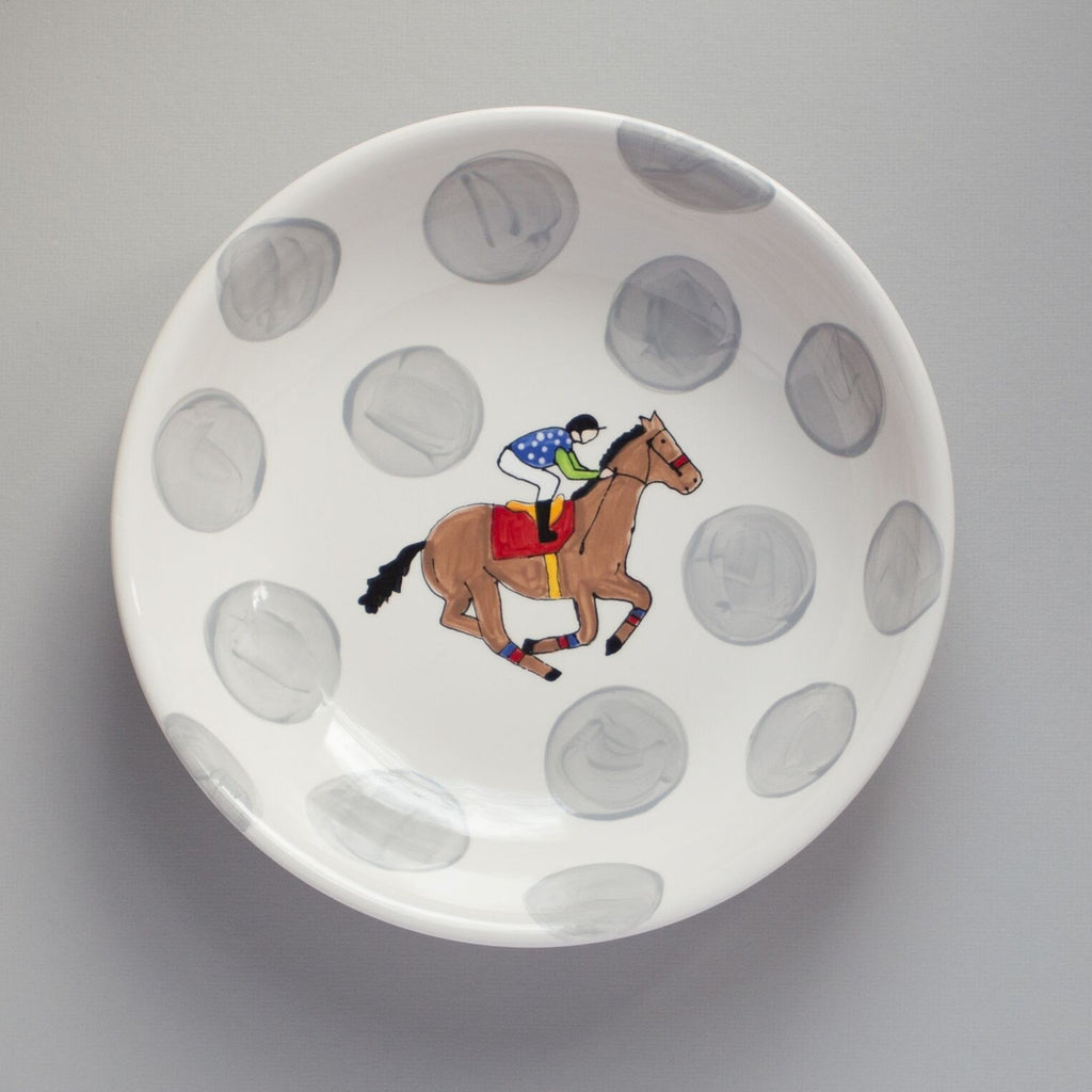 Horse and Jockey Pasta Bowl with Grey Dots